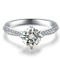 钻戒定做批发 翡翠宝石镶嵌加工 经典18K白天然南非钻石戒指