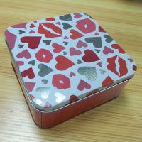 正方形马口铁情人节礼品包装金属罐 糖果铁盒