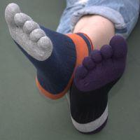 供应 五本指春夏薄款纯棉短筒男士五指袜透气吸汗分趾袜