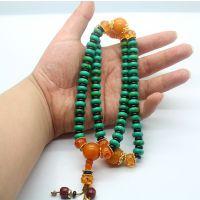 厂价饰品批发 绿松石扁形带隔珠藏式佛珠手链 念佛