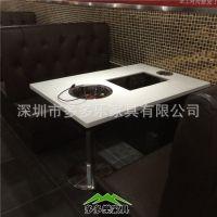 韩国纸上烧烤家具厂家 火锅涮烤烤肉餐桌 大理石电磁炉自助烧烤桌 多多乐家具