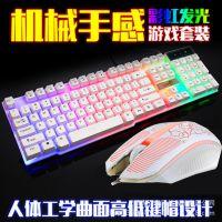 雷迪凯832键鼠套装新款USB键盘USB鼠标网吧发光游戏套件七彩背光