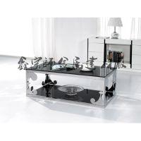 【新款上市】现代简约客厅餐厅住宅家具组合 钢化玻璃不锈钢储物茶几