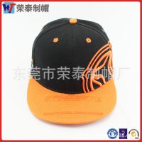 东莞厂家定制 嘻哈风拼色平板帽 左侧立体刺绣图案 运动棒球帽