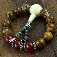 正宗印尼花奇楠手链 隔天然红玛瑙 藏式手链 檀木宝石佛珠手链