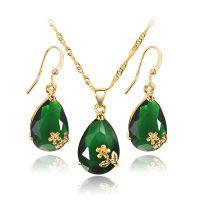 欧美复古水滴形金花锆石项链套装 晚宴新娘镶墨绿宝石首饰套装