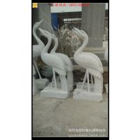 生产加工雪花白动物仙鹤石雕工艺品摆件 酒店广场石雕 公园石鹤