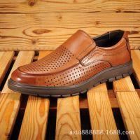 皮鞋贴牌厂家批发2015夏季新款男士透气镂空洞洞鞋真皮休闲男单鞋