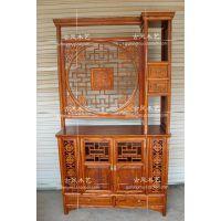 仿古典榆实木家具雕花门厅福字双面玄关厨房客厅隔断墙角装饰柜架