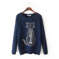 YIN.X.W.M--88#/TP 韩版新款猫咪刺绣字母百搭毛衣 女式打底衫