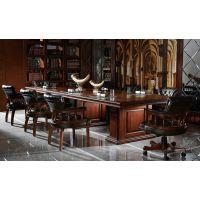 佳诚九悦全实木办公家具,欧式凯撒系列全实木会议桌,欧式实木办公家具
