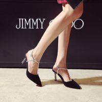 15新款女鞋欧美性感OL尖头浅口水钻单鞋细高跟鞋女真皮凉鞋