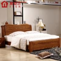 意特尔美国红橡木床大气纯实木床简约现代实木床1.8米双人床特价