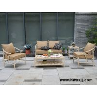 馨宁居新中式休闲桌椅三件套 售楼处大堂沙发 会所铝合金沙发