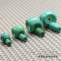 藏珠佛头手链首饰配件 天然水晶绿松石 藏式佛珠配件绿松石佛头