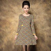 西格丽品牌代理秋冬女装新款圆领抽象图案印花长袖高腰大摆连衣裙