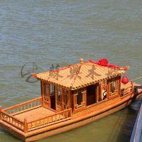 6米电动玻璃钢单亭船 传统木船 公园旅游单亭船 户外观光赏景木船