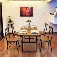 韵艺 欧式铁艺实木桌椅 餐厅复古做旧餐桌实木桌椅 餐桌椅组合