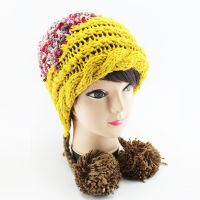 工厂批发 纯色毛球帽针织毛线帽 时尚女士帽子 韩国毛线帽 冬款