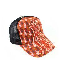 帽子工厂供应橙色皇冠刺绣棒球网帽 户外休闲围帽