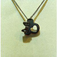 厂家直销200元混批真金电镀微镶锆石米奇蝴蝶结颈链