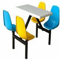 肇庆地区学校食堂餐桌餐台 清远连体玻璃钢快餐桌康腾户外休闲桌