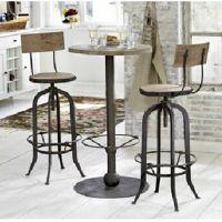 创意德实木圆桌美式乡村复古风休闲铁艺实木桌椅 户外吧台桌椅