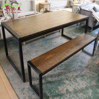 美式乡村 铁艺桌椅 餐桌 咖啡桌 奶茶店桌椅餐厅实木桌椅防锈