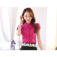 成都供应夏装韩版衬衫女短袖|职业修身衬衣|优雅简洁女式衬衣定制