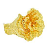 抛光加大号玫瑰花手镯镀金饰品 镀24K金镀黄金手镯 持久不掉色