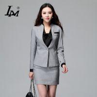秋冬新款OL职业装女套装女士职业装正装长袖时尚修身工作服灰色代