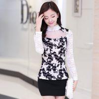 2015春季新款韩版高领蕾丝衫修身显瘦印花打底衫时尚百搭雪纺衫