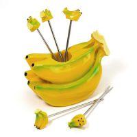 批发香蕉水果叉 创意水果叉 叉子 彩盒包装礼品生日礼物