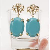 大牌 韩版 绿松石耳环 范冰冰同款 欧美时尚 耳环