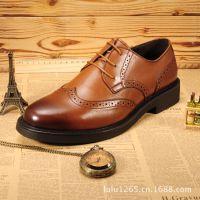 系带商务正装皮鞋真皮头层牛皮男鞋 英伦雕花 复古做旧商务皮鞋
