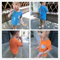 外贸热销男童儿童新款童装纯色打底衫儿童英伦风短袖T恤 一件代发
