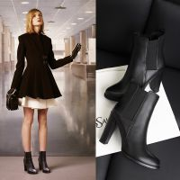 2014新款欧美高跟鞋舒适粗跟短靴欧洲站外贸真皮女单靴ol大牌女靴