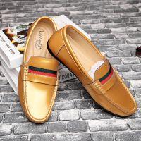 【厂家直销】夏季新款男士休闲皮鞋软面皮单鞋男豆豆鞋真皮透气