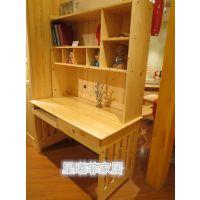 实木书桌电脑桌松木转角书桌台式儿童学习桌写字台带书架组合简约