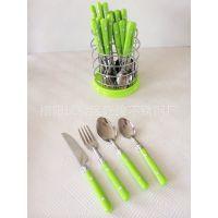 厂家供应 热销义乌 优质塑料柄餐具  礼品塑料餐具套装24件套