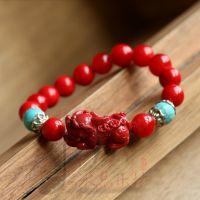 水晶乐坊 朱砂貔貅手链 搭配绿松石 时尚女款 正品保证 厂家直销