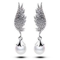 日韩满钻天使翅膀 高档珍珠满钻时尚优雅长款耳环耳钉 5195