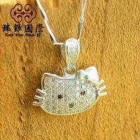 可爱韩国饰品kitty猫纯银吊坠 微镶银饰品 外贸出口速卖通首饰