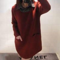 一等货源2014韩版A字型冬季打底衫 翻领假两件套头羊绒衫女装批发