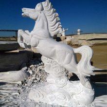 万洋雕刻石雕动物雕刻汉白玉腾飞马大型广场生肖摆件厂家现货加定做