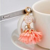RS10489 镶钻珍珠花朵iphone4s苹果防尘塞 挂件配件手机塞批发