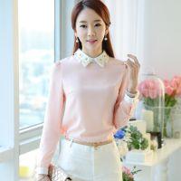 2015春季女装新款韩版修身钉珠娃娃领粉色雪纺衫打底衫上衣女