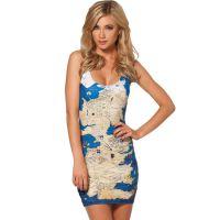 欧美朋克野外地图性感连衣裙 速卖通热销性感连体背心裙 现货批发