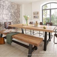 欧式 loft 复古实木餐桌铁艺餐桌椅办公电脑桌椅做旧复古茶几茶桌