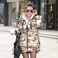2015冬装新款女短款修身显廋大码迷彩女式羽绒服工厂特批一件代发